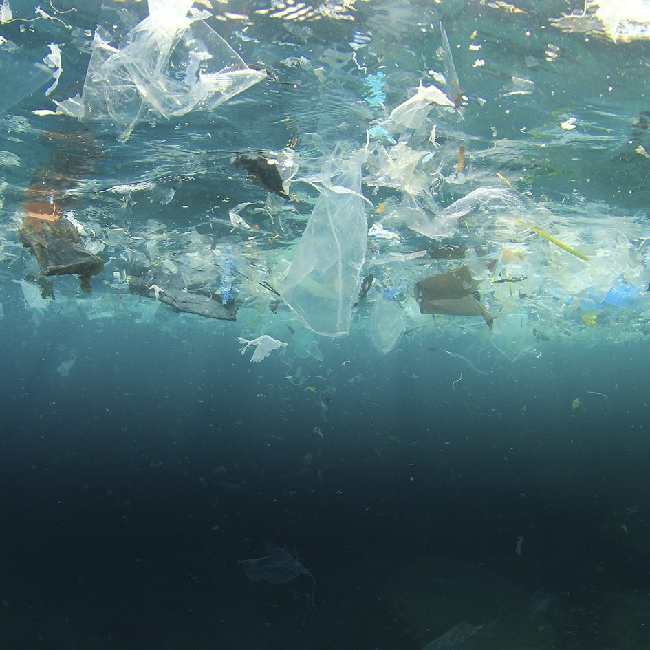 Sea pollution from mountains of plastic waste and microplastic particles