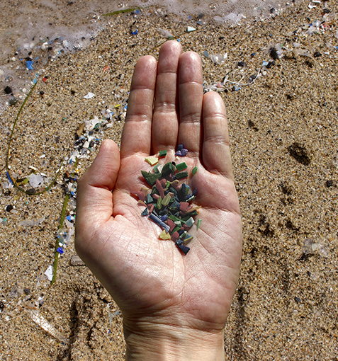 Microplastics washed from the sea to the beaches