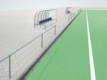 The filter system SPORTFIX CLEAN is installed along the artificial turf pitches
