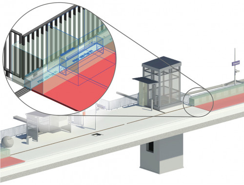 The figure shows placeholders for the installation and maintenance area. The connected drainage areas are also shown.